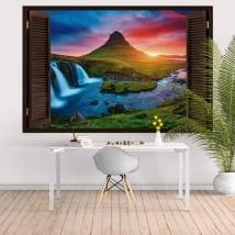 Fenêtres 3d islande coucher de soleil chutes de kirkjufell et montagne