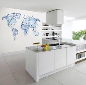 Papier peint mural carte du monde éclaboussure d'eau