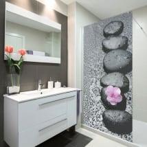 Vinyle décoratif écrans de salle de bains pierre zen