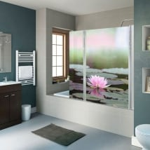 Vinyls écrans de salle de bains fleur de lotus