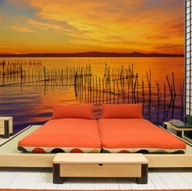 Papier peint coucher de soleil à l'albufera de valence