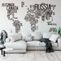 Vinyle et autocollants carte du monde du texte
