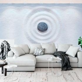 Murales de vinyle pierres et fleurs zen