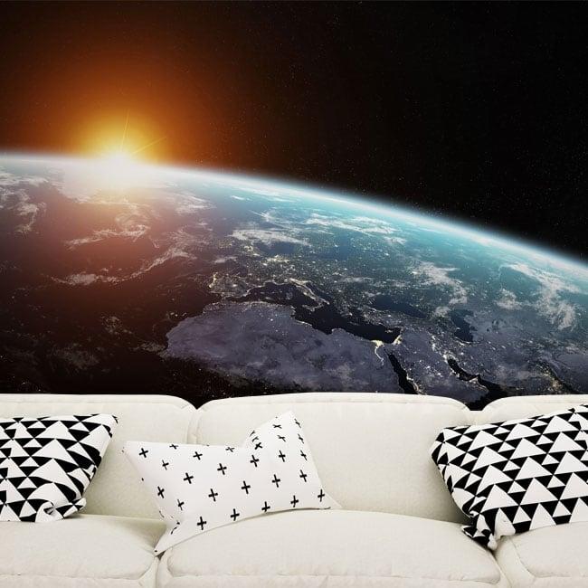 Peintures murales planète terre et soleil