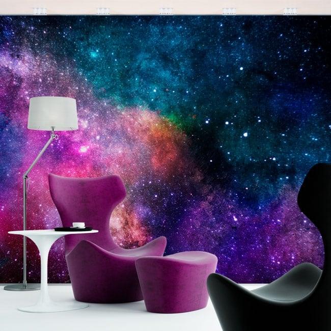 Peintures murales de vinyle couleurs de galaxie