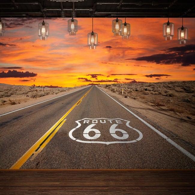 Peintures murales de vinyle route 66