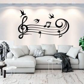 Vinyle décoratif porteuse de musique et les oiseaux