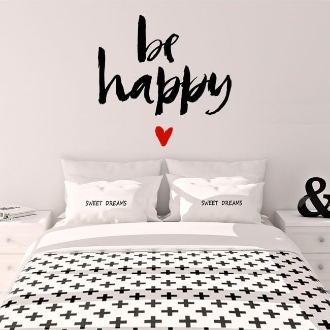 Vinyle et autocollants phrase be happy