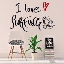 Vinyle décoratif phrases i love surfing