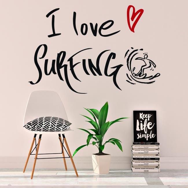 Vinyle décoratif phrases i love surfing
