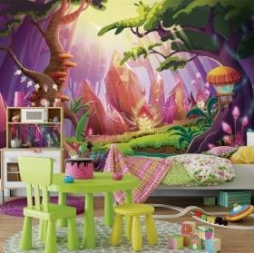 Peintures murales pour enfants forêt magique