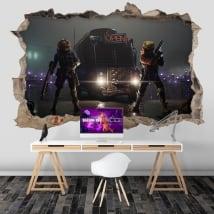 Vinyls trou mur jeu vidéo fortnite 3d