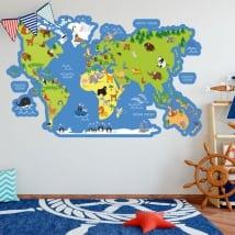 Vinyles et autocollants pour enfants carte du monde avec des animaux