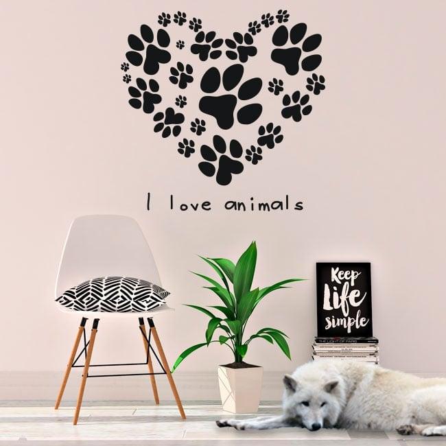 Vinyle et autocollants phrase i love animals