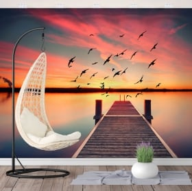 Murales en vinyle coucher de soleil pont sur le lac