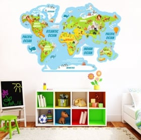 Autocollants en vinyle carte du monde avec des animaux