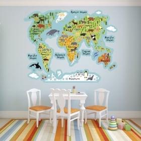 Vinyles carte du monde avec des animaux