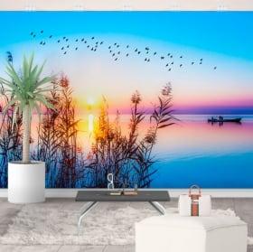 Murales en vinyle lever du soleil sur le lac