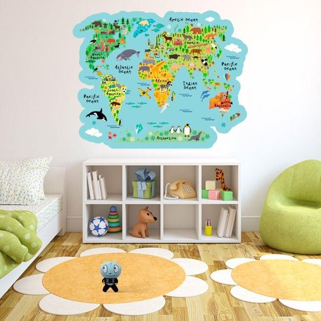 Vinyles et autocollants carte du monde avec des animaux d'enfants