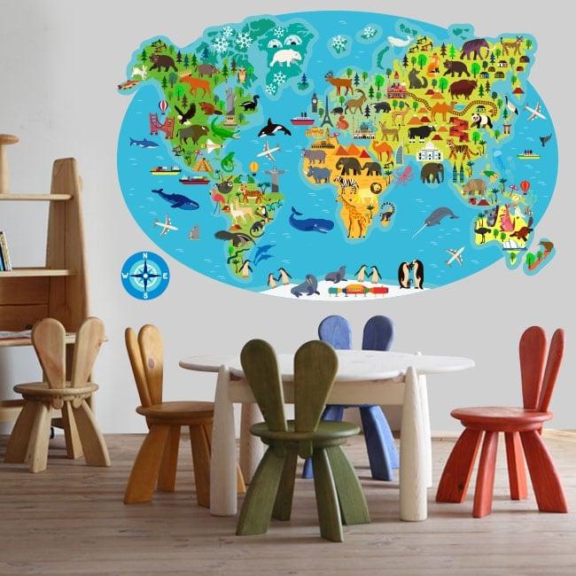 Vinyles et autocollants carte du monde animal