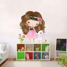 Autocollants en vinyle pour enfants fille et lapin