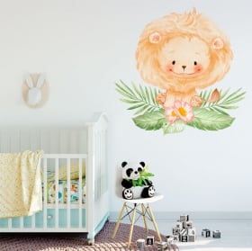 Vinyles et autocollants pour bébé lion avec fleurs