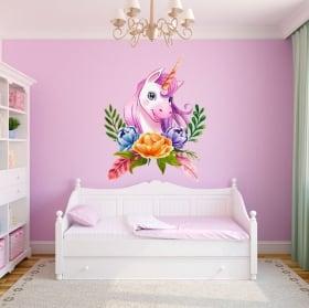 Vinyles et autocollants pour enfants licorne aquarelle