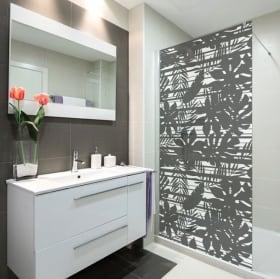 Vinyles écrans de salle de bain feuilles tropicales et lignes