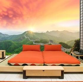 Papiers peints coucher de soleil sur la grande muraille de chine