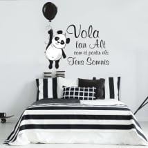 Vinyles phrases en catalan l'ours panda vole haut