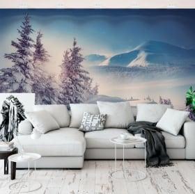 Papier peint vinyle hiver dans les carpates
