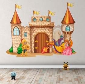 Autocollants en vinyle château avec princesse et prince