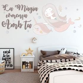 Autocollants et vinyles phrases en catalan la magie commence avec toi