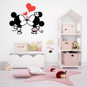 Autocollants en vinyle mickey et minnie mouse l'amour