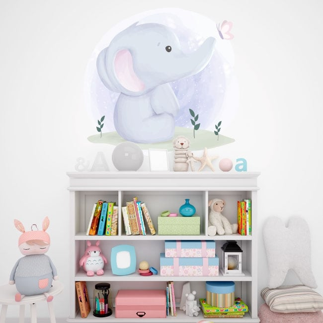 Vinyles et autocollants bébé éléphant avec papillon
