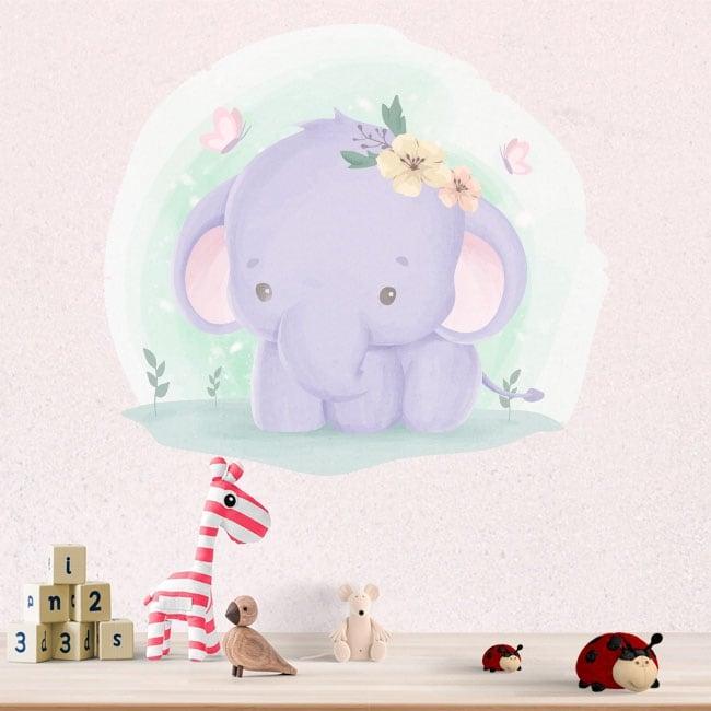 Autocollants en vinyle pour enfants éléphant et papillons