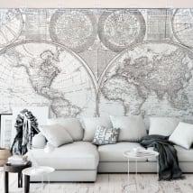 Papiers peints en vinyle carte du monde noir et blanc