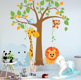Vinyles et autocollants pour enfants arbre avec des animaux