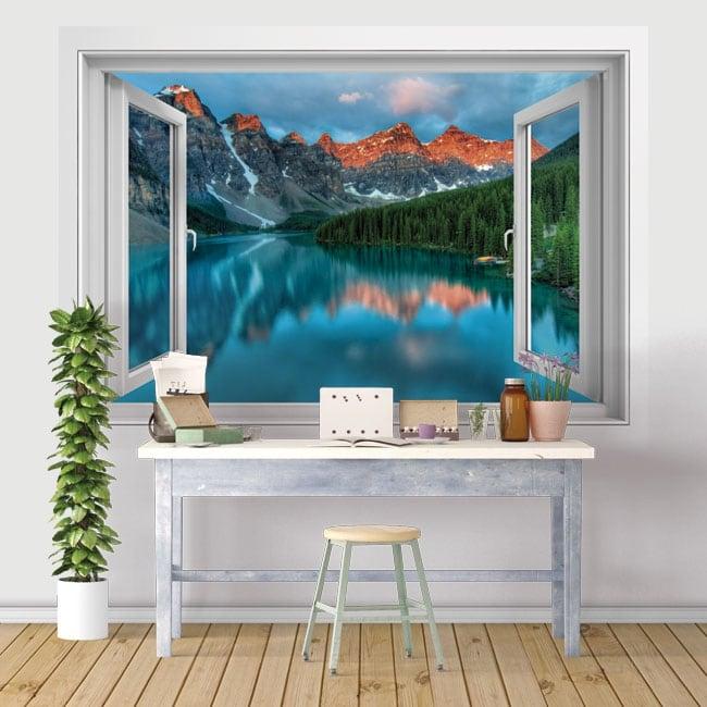 Vinyle et autocollants fenêtres 3d lac et montagnes de l'inde
