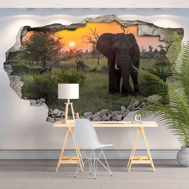 Vinyles et autocollants 3d coucher de soleil éléphant en afrique