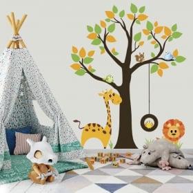 Vinyle et autocollants arbre avec des animaux d'enfants