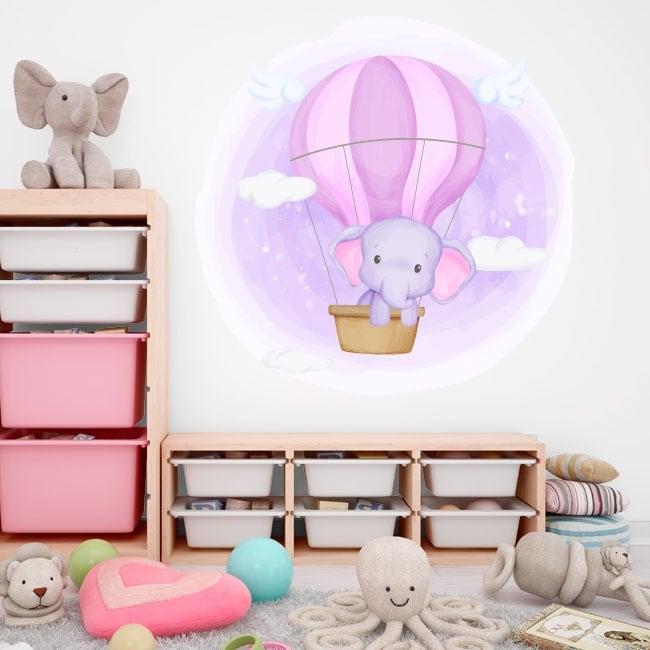 Vinyles et autocollants pour enfants éléphant dans le ballon