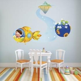 Vinyle décoratif les enfants et l'avion
