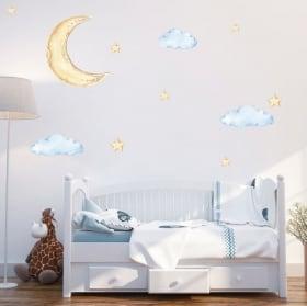 Autocollants en vinyle ballon avec nuages et étoiles
