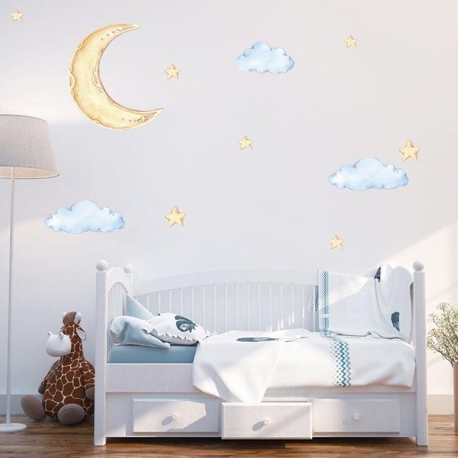 Vinyles et autocollants pour enfants lune nuages et étoiles