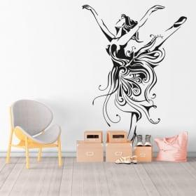 Vinyle et autocollants silhouette de femme danseur