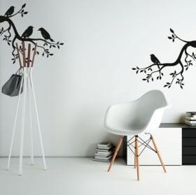 Vinyle et autocollants branches d'arbres avec des oiseaux