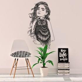 Vinyle et autocollants silhouette de femme avec hibou