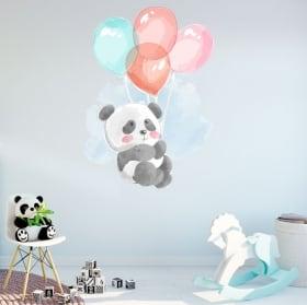 Vinyles et autocollants pour enfants ours panda avec des ballons