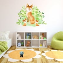 Autocollants en vinyle effet aquarelle famille renard